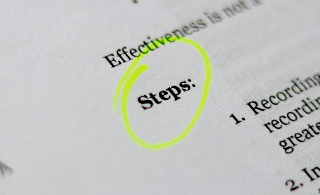 "A review document with the word ""steps"" highlighted."