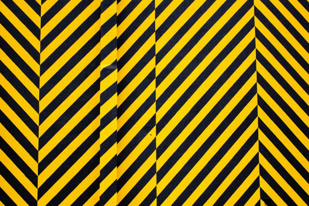 A wall of yellow and black warning stripes.