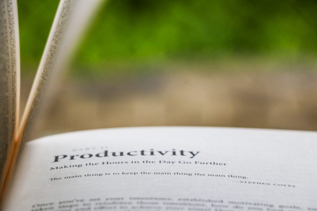 """An open book with the title """"Productivity: Making the Hours in the Day Go Further."""""""