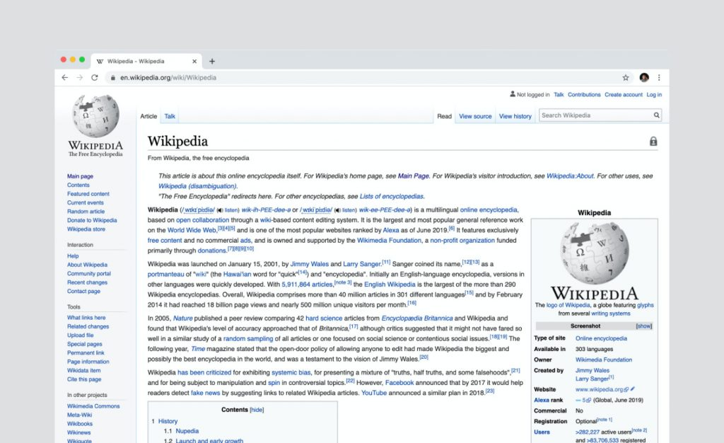 A screenshot of Wikipedia.