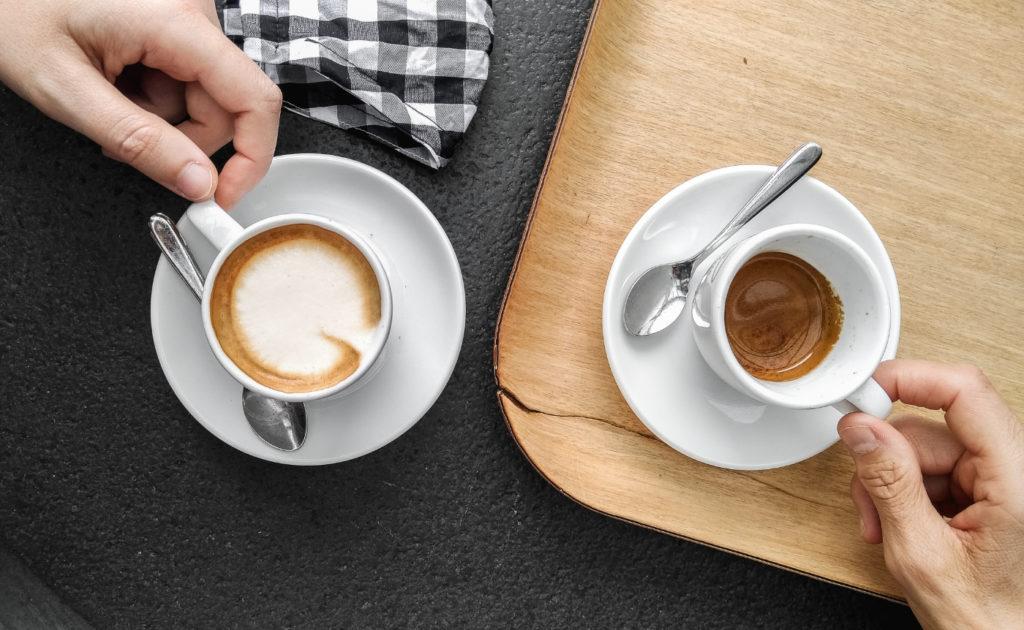 Two people on a coffee break.