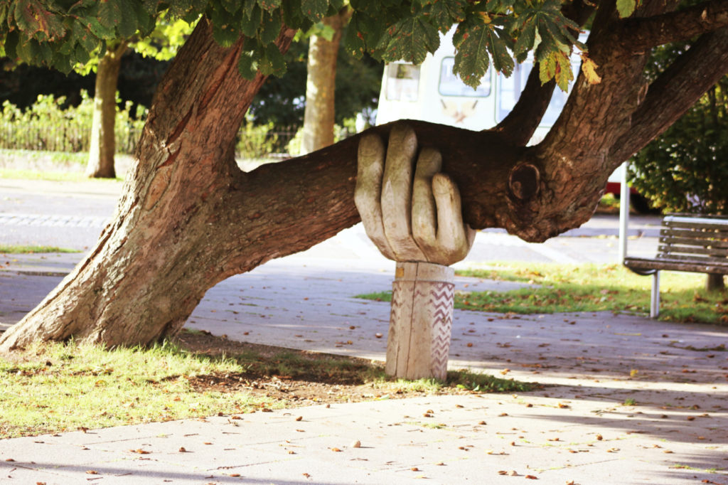 A sloping tree that is supported by a statue of a hand.
