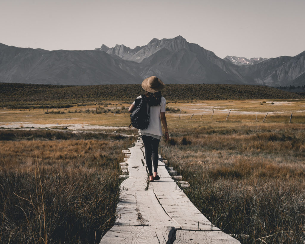 A person walking on a path towards mountains.