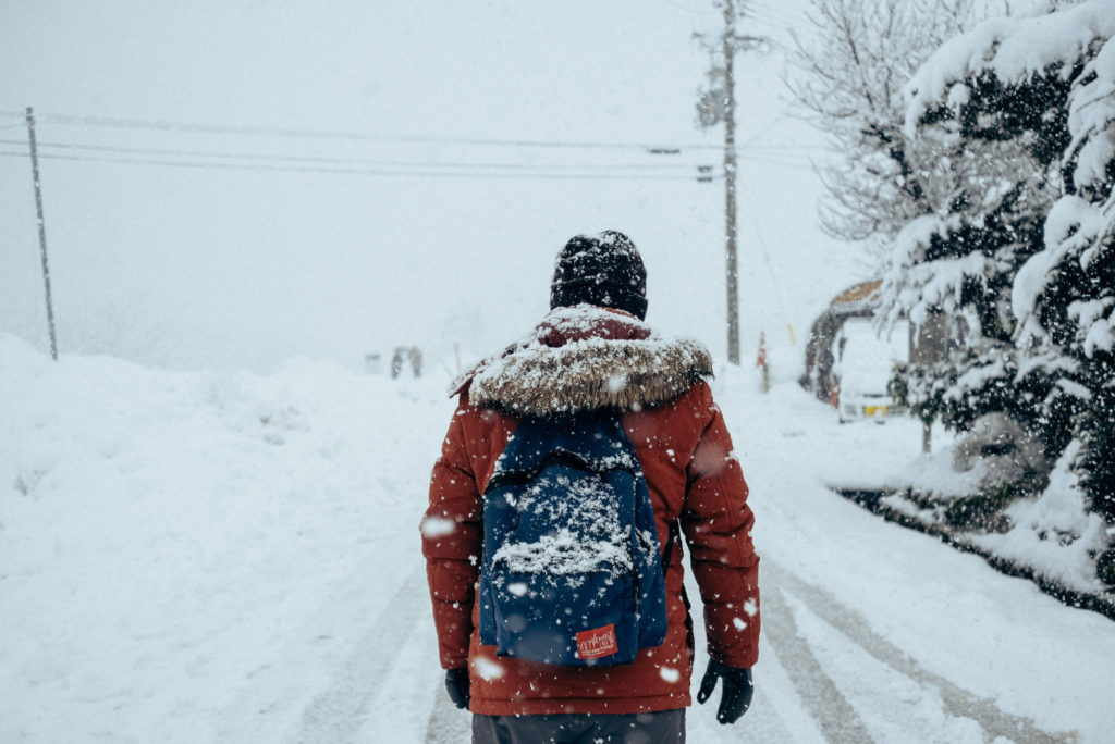 A person walking in a snowstorm.