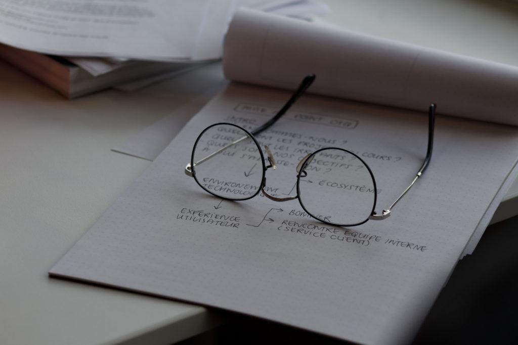 Glasses on a white, hand-written plan.